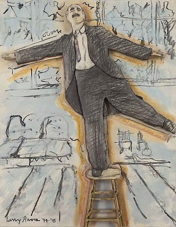 Groucho Dancing on a Stool 1994-95 charcoal, colored pencil, oil on paper mounted on sculpted foamboard  31 1/2 x 24 2/3 x 1 3/4 inches
