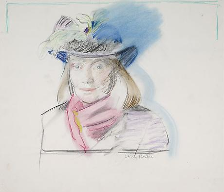 Larry Rivers Niki de Saint Phalle 1987 colored pencil on paper 21 3/4 x 25 inches
