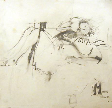LARRY RIVERS Reclining Maxine 1958 pencil on paper 14 x 14 ¾ inches