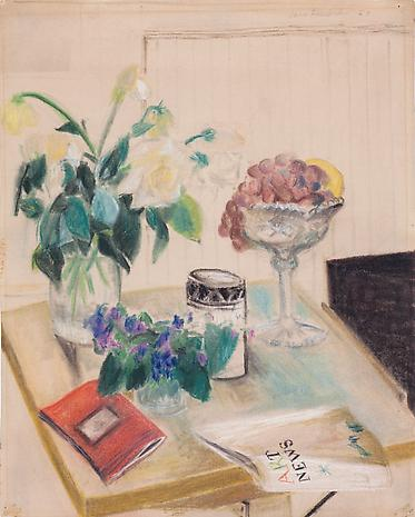 Untitled (Still Life with Copy of ARTnews) c.1963 pastel on paper 23 x 18 inches Private Collection