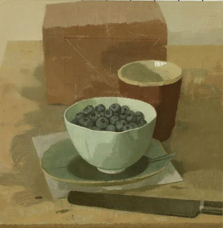 Blueberries in a Bowl with Red Cup, Knife, and Brick 2012 oil on linen 9 1/8 x 9 1/8 inches