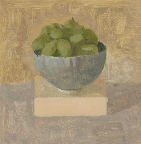 Green Grapes in a Turquoise Teacup III 2013 oil on gessoed paper 9 x 8 7/8 inches
