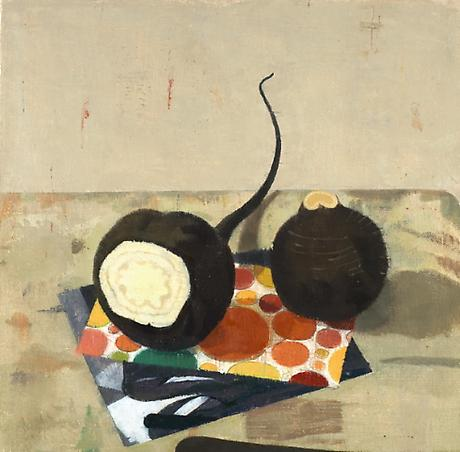 Two Spanish Radishes with Xerox, Citrus Wrapping Paper and Knife 2008 oil on linen 9 x 9 1/4 inches
