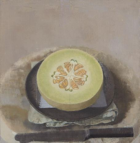Melon Sliced Open on a Black Plate with Knife 2015 oil on linen 10 3/8 x 10 1/8 inches