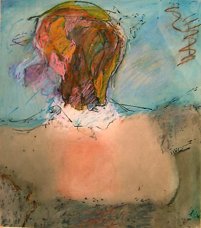 Woman with Bare Breast and a Multicolored Face nd mixed media on paper 20 x 26 inches
