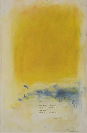 "JOAN MITCHELL Drawing to James Schuyler's poem ""Daylight"" c.1975 pastel on paper 14 x 9 inches Collection Nathan Kernan"