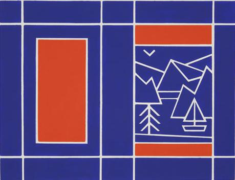 "TREVOR WINKFIELD Book cover for ""Rivers and Mountains"" by John Ashbery 1977 acrylic on paper  17 1/4 x 20 1/4 inches"