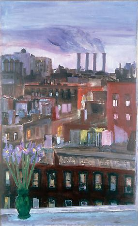 JANE FREILICHER Early New York Evening 1954 oil on linen 51 1/2 x 31 3/4 inches Collection Elizabeth Hazan