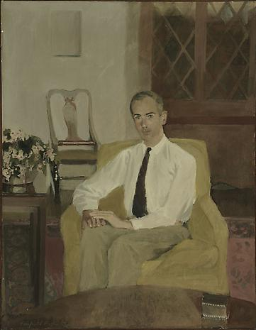 FAIRFIELD PORTER Portrait of Roland F. Pease 1958 oil on canvas 36 x 28 inches Frances Lehman Loeb Art Center,  Vassar College, Poughkeepsie, New York. Gift from the Roland F. Pease Collection, 1997