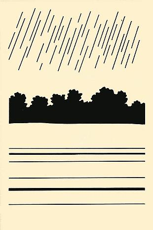 "JOE BRAINARD (Untitled (Rain) Illustration for ""The Vermont Notebook"" by John Ashbery c.1964 ink on paper 9 x 6 inches"