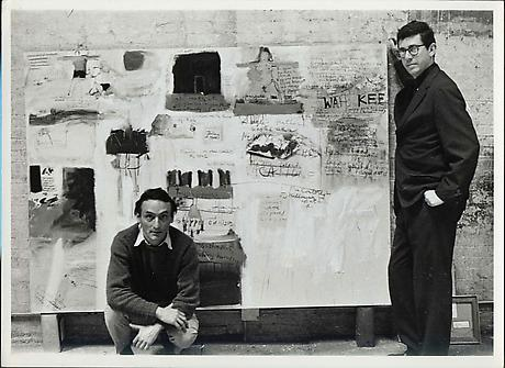 "RUDY BURCKHARDT Larry Rivers and Kenneth Koch in front of their collaborative work ""New York, New York, 1950-1960"" c.1961 gelatin-silver print 6 3/8 x 9 inches"